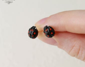 Black Ladybug stud Earrings Ladybird Earrings Lady beetle Earrings Ladybug jewelry love lady beetle Spring earrings black summer pin Beauty