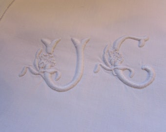 Antique French large linen hand embroidered pillow case/sham. Monogrammed UC