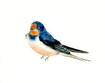 SWALLOW-7X5 print--Art Print-animal Watercolor Print-Giclee Print--Children's Wall Art-bird art