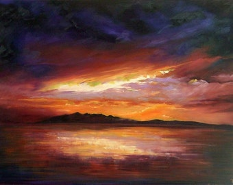 Arran Sunset mounted print of an original oil painting by Tracy Butler