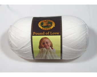 Lion Brand Pound of Love Yarn, White, 16 oz
