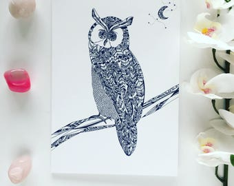 Owl diary | Owl illustration | Cute journal | gift diary | White paper | Stationery | Bird notebook | Owl illustrated Pad | Cute notebook