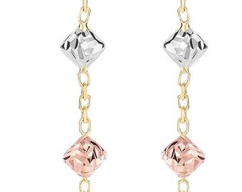 14kt Yellow+Rose+White Gold Diamond Shape 3-Tri-Color Bead On Drop Earring