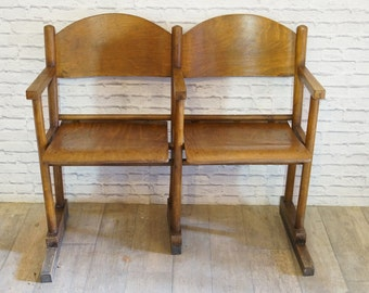 Vintage Retro Wooden Cinema Chairs Set of Two 1950'