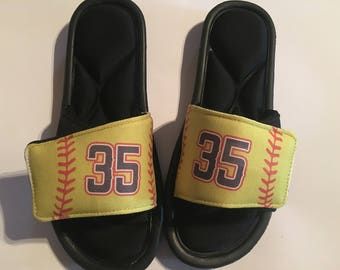 Custom slide sandals, custom slides, custom sandals, softball slides, softball sandals, personalized softball accessories, softball shoes