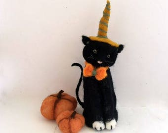 Needle felted black cat one of a kind Halloween decoration centerpiece unique gift