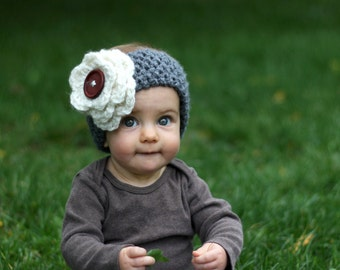 KNITTING PATTERN with crochet flower- The Abby Warmer