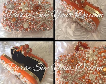 Vintage Orange Custom Bridal Pearl and Swarovski Crystal Clutch Handbag - Pearl Handbag - Crystal and Pearl Purse - Swarovski Bridal Purse