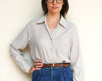 "Vintage checkered shirt, medium large - grey, pink and olive. . . . . . ""Like"" our fb page for 10% discount"