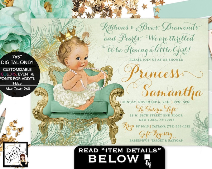 """Mint and gold baby shower, princess is on her way, mint gold invitations, vintage, baby girl diamond pearls, DIGITAL! 7x5"""" Gvites"""