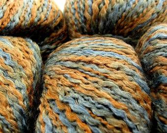 Geranium by Needful Yarn - Linen/Acrylic Thick Thin Novelty Yarn - Brown and Blue