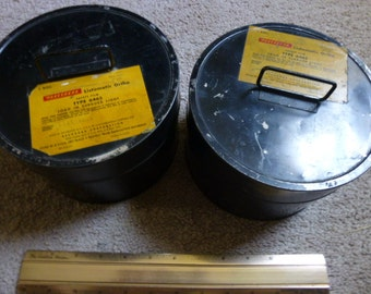 "Interesting pair of 7"" x 4.5"" 1950s film canisters - original labels and liners - microfiche film containers - great storage - fun form"