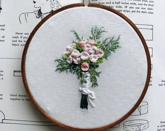 Custom Hand Embroidered Bouquet 5 Inch Hoop