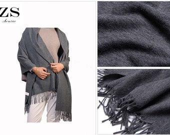 100% Pure Wool Large Size High Quality Thick Fashionable Plain Shawl Wrap Throw Scarf Women Men