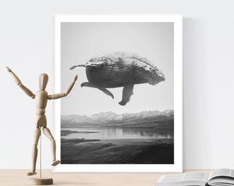 Black and white wall art, whale print, scandinavian wall art, scandinavian print, minimalist print, landscape print, design poster, wall art
