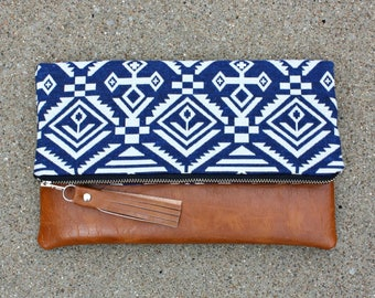 Blue Bohemian tribal Foldover Clutch