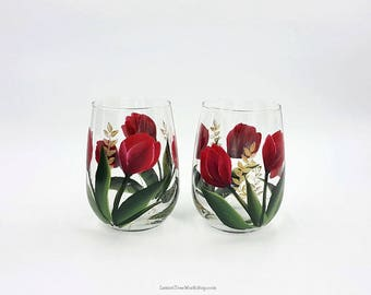 Hand Painted Tulip Wine Glasses Set of 2 Red Spring Tulip Stemware with Gold Accents