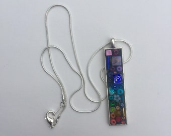 Rainbow Pendant, Mosaic Necklace, Camilla Klein, Micro Mosaic, Gay Pride Jewelry, Chakra Pendant, Colorful Mosaic Pendant, Chakra Necklace