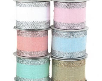 Glitter-Edge Criss-Cross Canvas Ribbon, 2-1/2-inch, 10 Yards