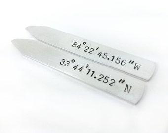 collar stays anniversary, custom coordinates men, wedding anniversary gift for him, latitude longitude gift men