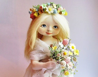 The Art OOAK interior doll Agnes (the purity) OOAK Art doll Collecting doll Pretty doll Dressed doll Doll as gift The girl doll Floral doll