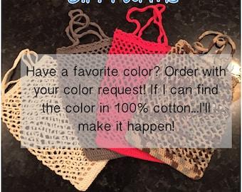 Custom Color -  **Read Description** 100% Cotton Crocheted Market Bag -