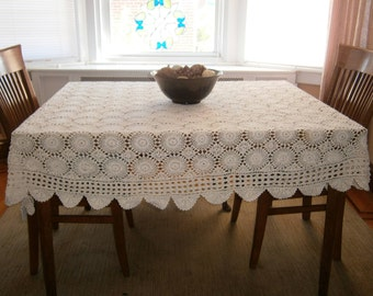 "Hand Crocheted Oval Tablecloth, Off-White Vintage Handmade Tablecloth, 57"" x 85"" Tablecover, 1940's Tablecloth, Cotton Lace Tablecloth"