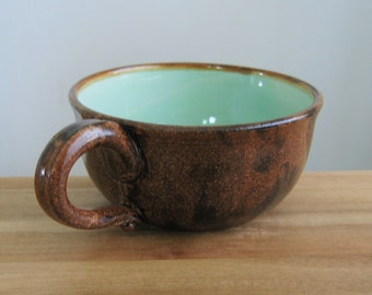 Soup Mug, Large Stoneware Pottery Coffee Mug or Cappuccino Cup in Cocoa Brown and Mint Green 16 oz Soup Bowl, Oatmeal Mug