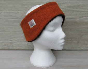 Harris Tweed Burnt Orange Luxury Ear Warmer Headband