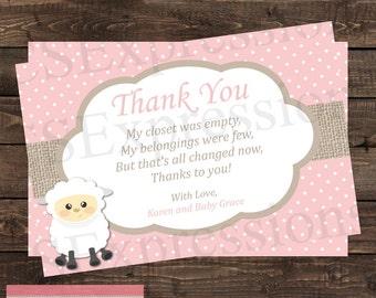Cute Little Lamb Baby Shower Thank You Card