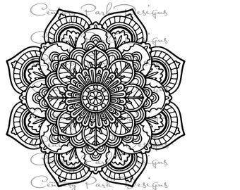 Mandala 001  SVG / JPEG / PNG /pdf / use with Silhouette Studio and Cricut Design Space - Commercial Use - Adult Coloring Page