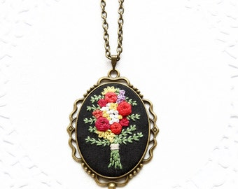 Hand Embroidered Bouquet Necklace | Rose Flower Embroidered Pendant Necklace | Hand Embroidered Jewelry | Boho Bride Bridesmaid Necklace
