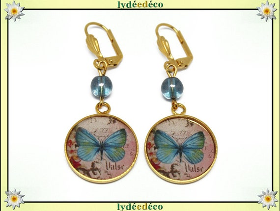Earrings BUTTERFLIES Golden brass gold 24 carat 24 k pastel blue resin rose beads glass resin