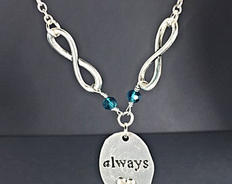 Silver Always Infinity Charm Necklace with Emerald Green Swarovski Crystals.Infinity Jewelry.Always Pendant Necklace.Always and Forever.Gift