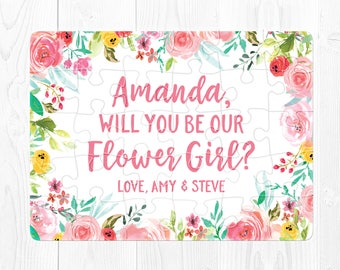Flower Girl Puzzle Flower Girl Proposal Will You be Our Flower Girl Card Ask Flower Girl Will You Be My Flower Girl Gift Pink Mint Green