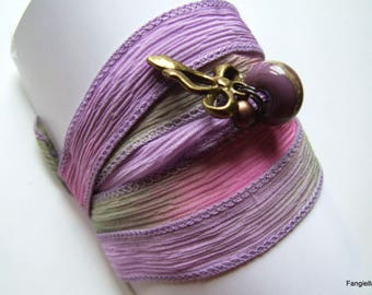 Green purple pink silk Bead Necklace Bracelet Craft bow
