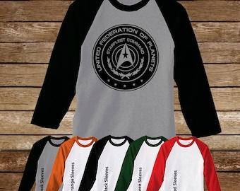 United Federation of Planets Raglan Tshirt/Star Trek/Trekkie Shirts/Trekkie Fandom/Spock/Vulcan/Star Trek Movie