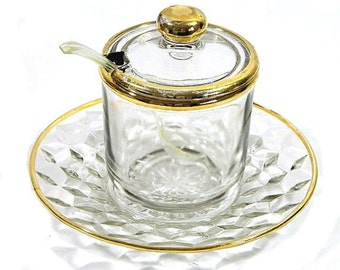 Glass Jam Jar with Cube Pattern Underplate and Gold Trim