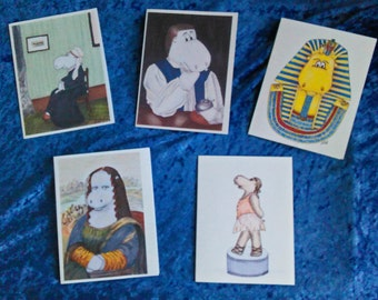 Happy Hippo Art History blank notecards, set of 5, collection 2