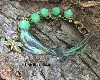 Patina Green Dragonfly Bracelet, Green Dragonfly Bracelet, Dragonfly Bracelet, Patina Dragonfly, Dragonfly Jewelry, Dragonfly, One of a Kind