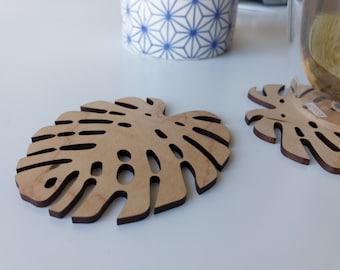 Wooden Tropical Leaf Coaster (Set of 5)