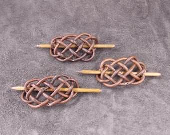 Braided Leather Hair Barrette