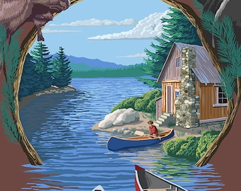 Cranberry Lake, New York - Cabin on Lake Montage (Art Prints available in multiple sizes)