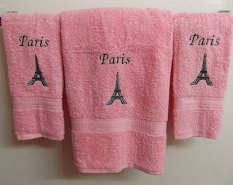 Embroidered ~PARIS EIFFEL TOWER~ Pink Set of 3 Bath & Hand Towels