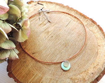 Mint necklace, choker, enamel, round, leather, coin pendant, modern necklace, silver