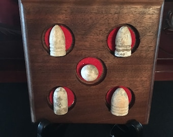 Walnut Plaque with Civil War Bullets