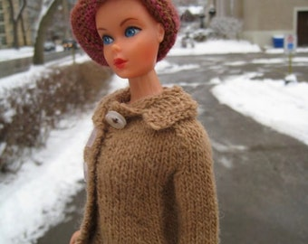 Barbie Knitting Pattern, Three Button Camel Coat