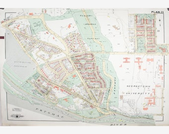 1960 Map of District of Columbia Map of Washington DC - Original Vintage Map - Baist - 34x24 - Georgetown University - Lithograph Map