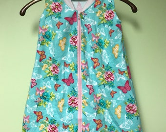 NEW-Flannel-Butterflies-Blanket Sleep Sleeper Sack-0-3 Mo-Handmade-Custom