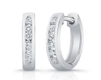 Barkevs, White Gold & Diamond Hoop Earrings, Gold Earrings, Diamond Earrings, Earrings, Hoop Earrings, Diamond Huggie Earrings, M2002E